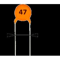 Condensador Cerámico Pasante 47pF/63v