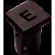 Mirilla-portaled letra E, 5mm., plástico.