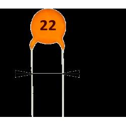 5 x Condensadores Cerámicos 22pF/50v