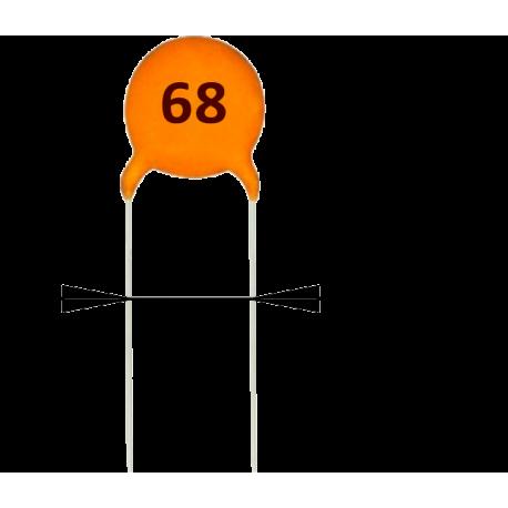 5 x Condensadores Cerámicos 68pF/50v
