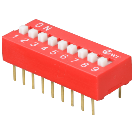 DIP Switch Rojo de 9 Contactos
